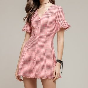 Moon River red and white gingham buttoned dress